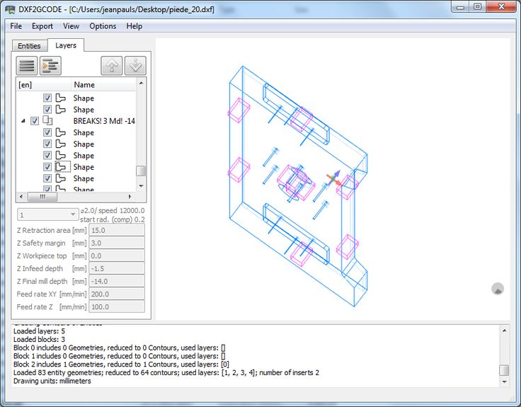 Download dxf2gcode for free. DXF2GCODE: converting 2D dxf drawings to CNC machine compatible G-Code. DXF2GCODE is a tool for converting 2D (dxf, pdf, ps) drawings to CNC machine compatible GCode. Windows, Linux, and Mac support by using python scripting language.