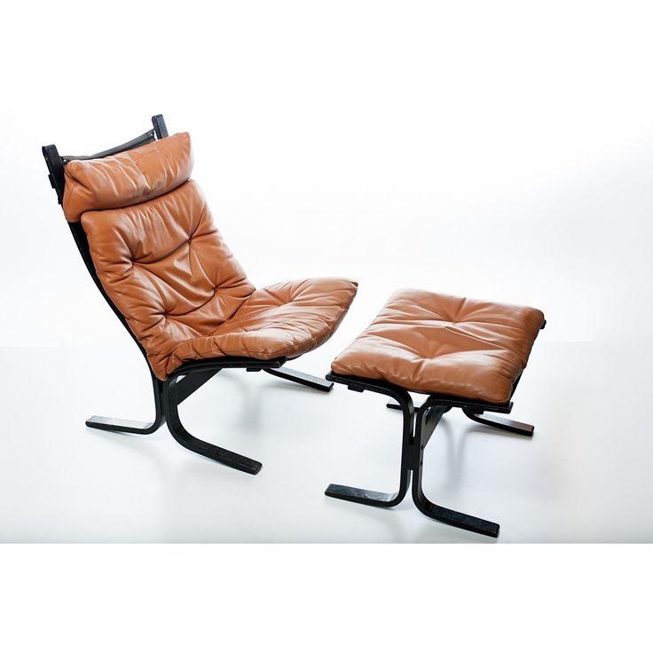 Poltrona nordica mod. Siesta designer Ingmar Relling produttore Westnofa - Norvegia anno 1965 colori marrone nero in legno -struttura- e pelle originale