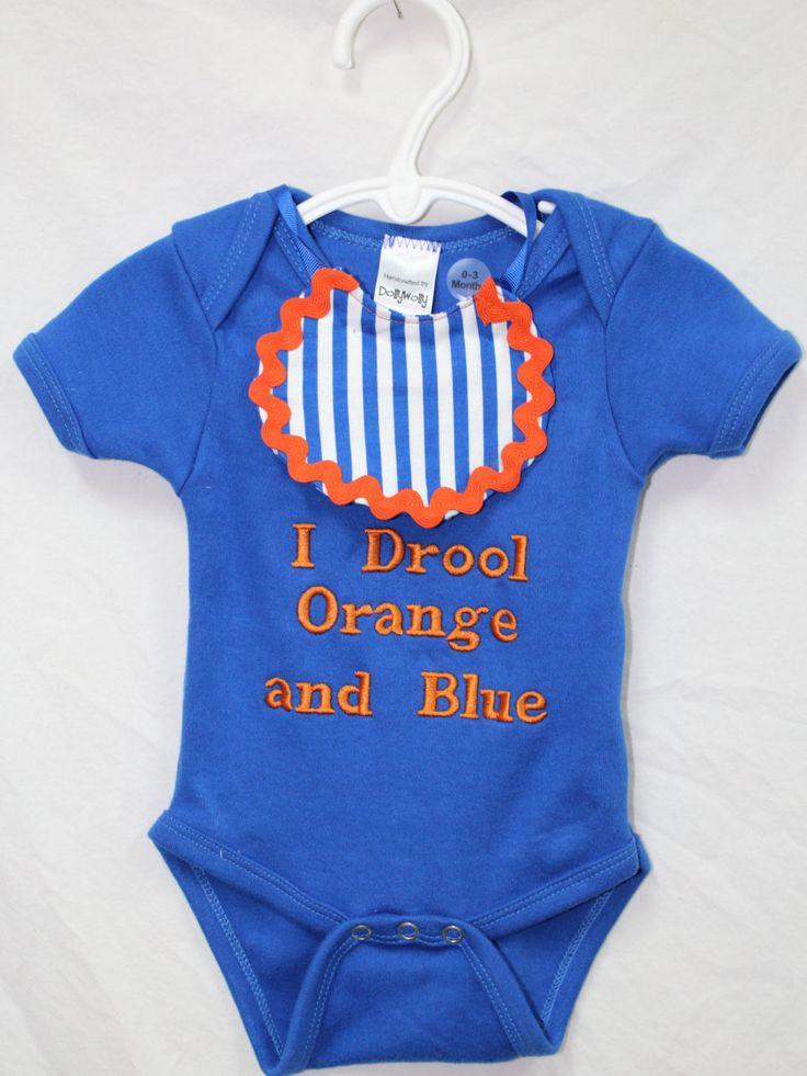 Florida Gators baby onesie, detachable baby bib, Baby Gator Girl bib, Baby boy Gator onesie, I Drool orange and blue, UF baby onesie by DollyWollySewing on Etsy https://www.etsy.com/listing/244311614/florida-gators-baby-onesie-detachable