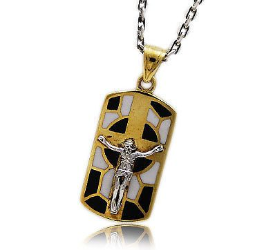 CRUCIFICTION OF JESUS BRASS & 925 STERLING SILVER BIKER DOG TAG PENDANT gb-043
