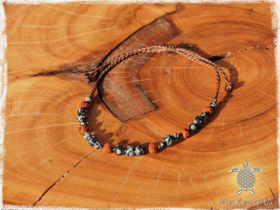 Hombres pulsera Tribal negro obsidiana piedra y Rudraksha