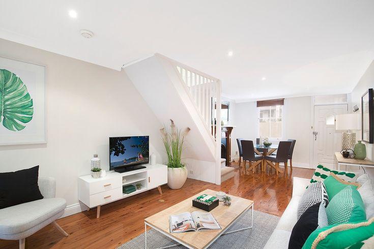 #Living #Livingroom #InteriorDesign #Interior #Design #Nature #Green #Black #White #Leaves #Watercolour #Art #Grey #Annandale #Forsale #Timber #TImberflooring #Staircase