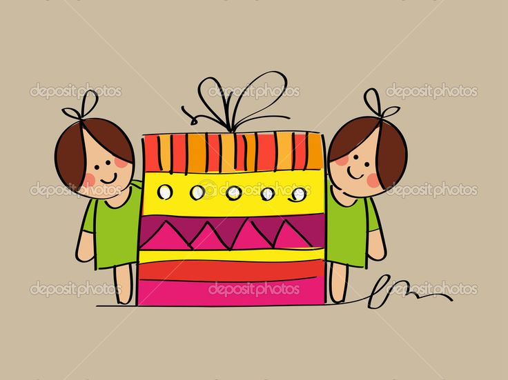 Девочки милые Близнецы эскиз с подарок на день рождения — стоковая иллюстрация #42396663