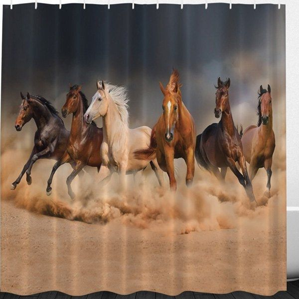 14.66$  Buy now - http://dinug.justgood.pw/go.php?t=208188902 - Bathroom Decor Horse Animal Print Shower Curtain 14.66$