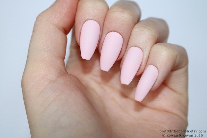 Plain Pale Pink Nail Polish On Matte Coffin Nails Attached To A Pale Hand With Folded Fingers See Pink Acrylic Nails Coffin Shape Nails Mirror Nails Powder