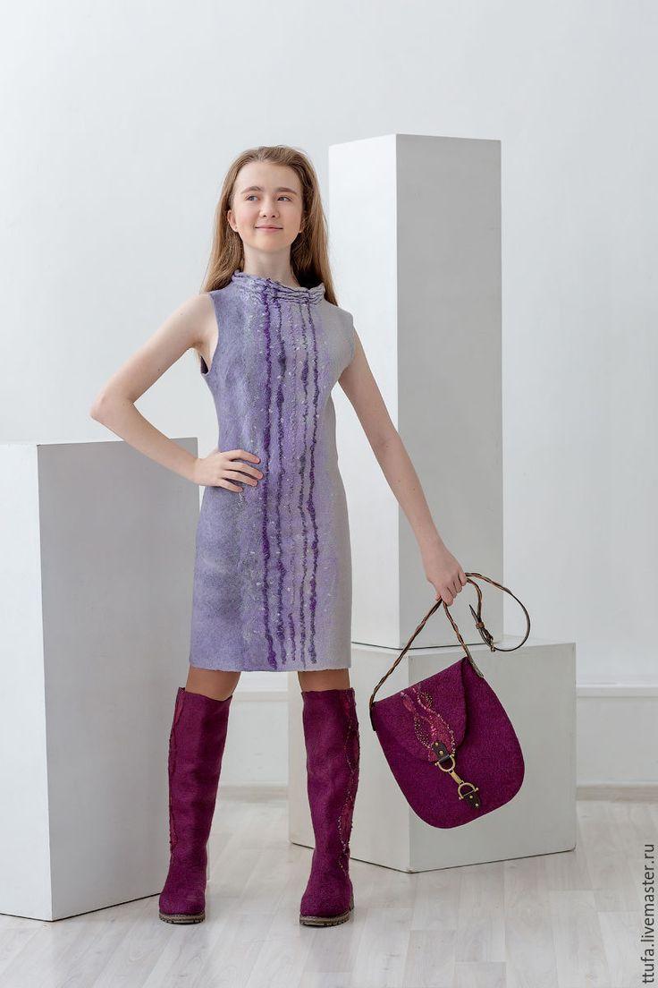"""Купить Платье валяное """"Круиз"""" - бледно-сиреневый, серый, лаконичный, простое платье, платье"""
