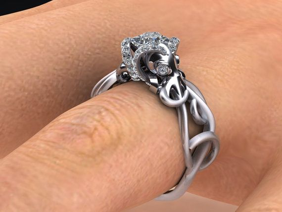 Double Octopus Diamond Engagement Ring Half by adamfosterjewelry