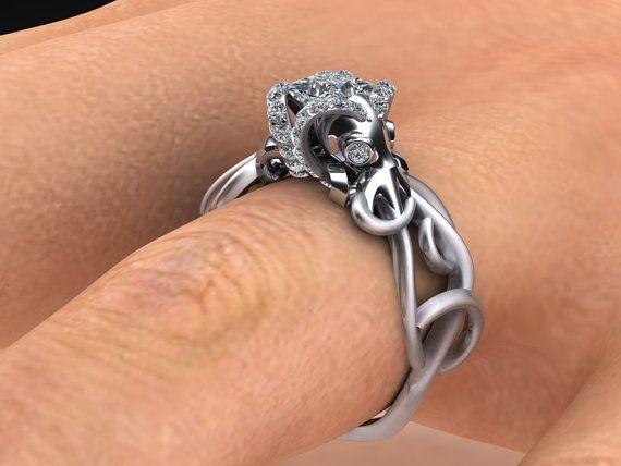 Double Octopus Diamond Engagement Ring Half by adamfosterjewelry