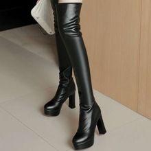 015 Vintage Ontwerp Vierkante Hoge Hakken Ronde Neus Platform Laarzen Mode Damesschoenen Over De Knie Hoge Laarzen(China (Mainland))