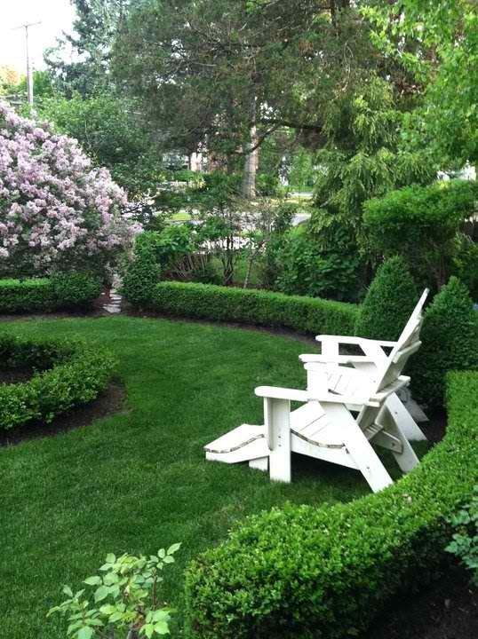 Boxwood-lined garden