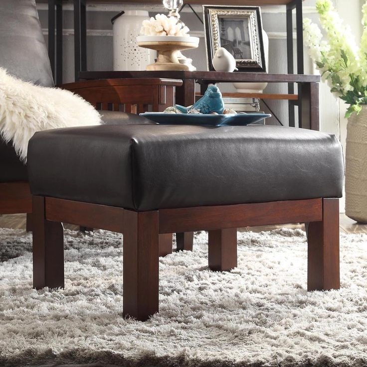 Hills Mission-style Oak Ottoman by TRIBECCA HOME