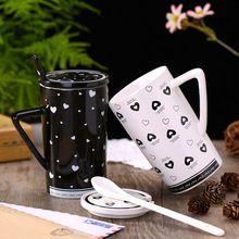 Modern Criativo Cerâmico Copo Caneca Copo de Café com Leite Linda Menina Senhora Do Escritório Copo Com Tampa E Colher Presente do Dia Dos Namorados