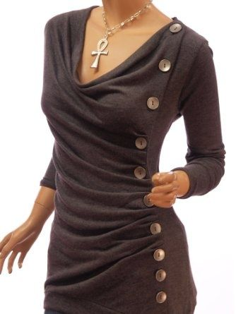 Take any over-sized long sleeve top, cut slightly off-center, pull to one side, and sew. Add buttons as embellishments, or for function :)