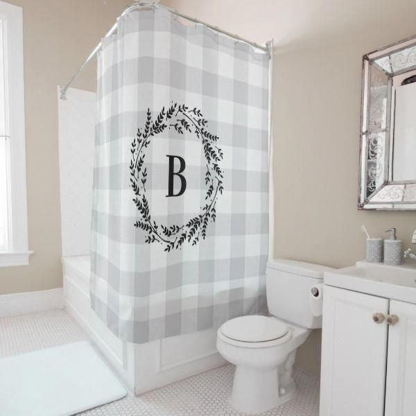 By Utilizing Accessories Colors And Displaying Beautiful Items In A Bathroom Your Visitors W Bathroom Shower Curtains Farmhouse Shower Shower Curtain Monogram