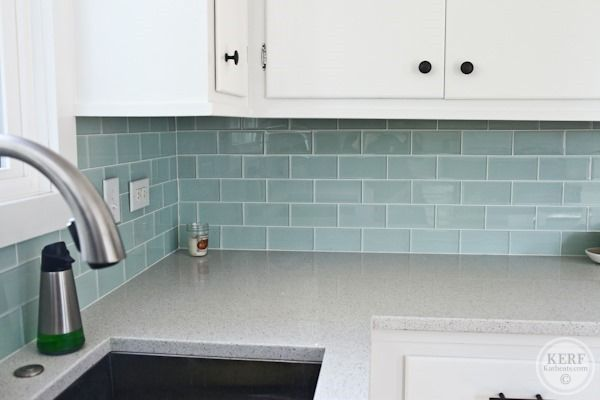 Kitchen Update from KERF:  Glass back splash is Architectural Collections Cadence Seaglass 3X6 subway tile with white grout.