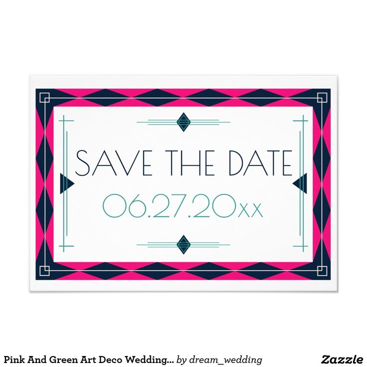 Pink And Green Art Deco Wedding Save The Date Card