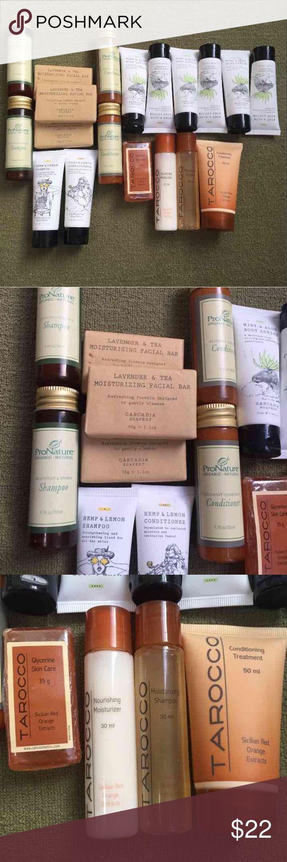 Body samples 20 •ProNature Organic Shampoo and conditioner - 2 each  lemon verbena body bar soap (not shown) •Tarocco conditioning, shampoo and soap •Cascadia mint & aloe body lotion  (6), hemp & lemon shampoo & conditioner and 3 lavender bar facial soaps Makeup