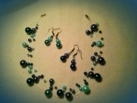 3 colours 3 types of beads 2 pairs of earrings 1 necklace