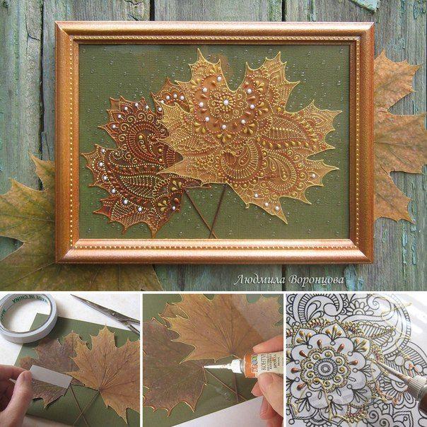 Необычный арт-подарок ко Дню учителя: листья + точечная роспись