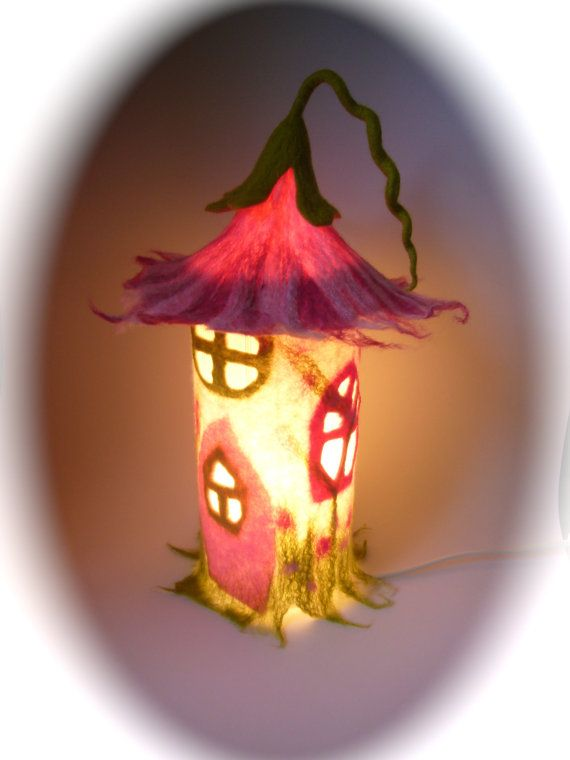 """Table Lamp cover  """"Fairy-house""""  Wet Felted.Fairy light,Bedside,Nightlight.Waldorf."""
