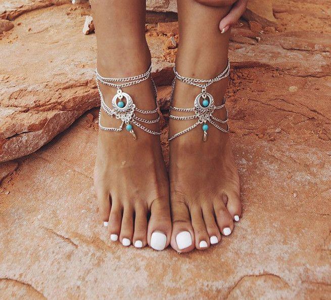 Boho Beaded Turquoise Barefoot Sandals