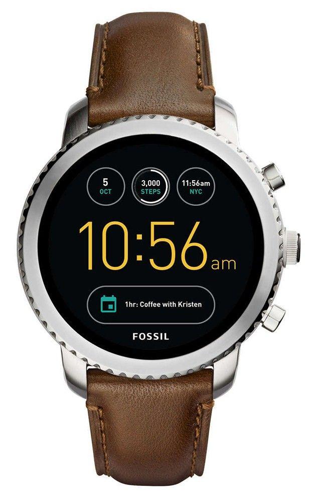 Fossil Smartwatch Q-Explorist FTW4003. Stoer en sportief Fossil horloge, model Q-Explorist. Het model is een smartwatch van met zilverkleurige, stalen kast, digitale wijzerplaat en bruine nubuck lederen horlogeband. Dit prachtige horloge heeft de volgende futures: Alarm, Analyse software, Android 2.0, Apps downloaden, Berichtweergave, Bluetooth, Caller ID en vele andere functies.