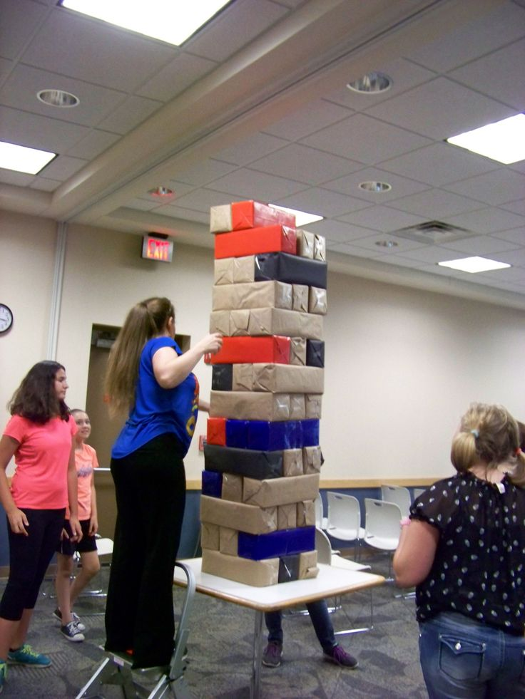 Giant size Jenga from our Library Lock-in this past summer. So inexpensive! Sarah just wrapped a whole bunch of 20 can soda boxes (because she is brilliant).