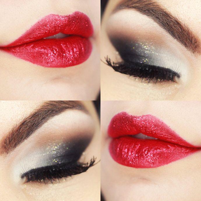 Tutorial – maquiagem degradê cinza e boca vermelha