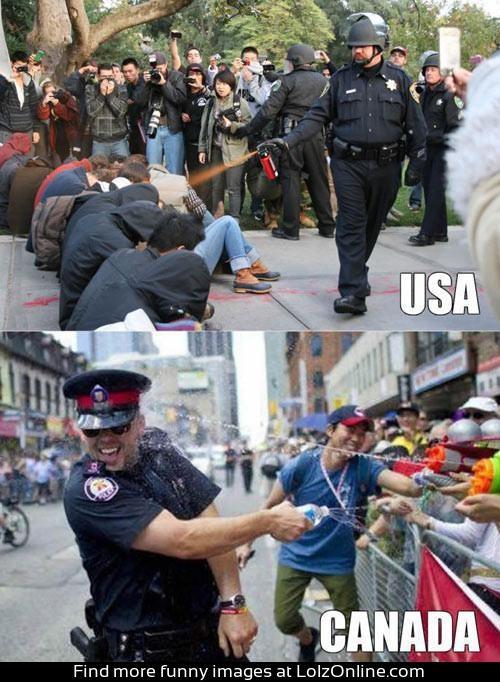 American police vs. Canadian police