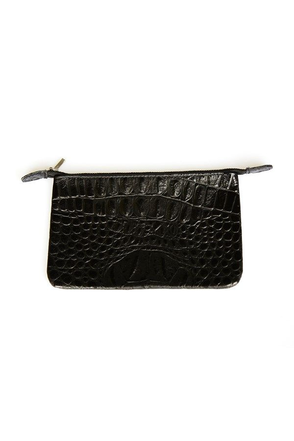 the zambesi ZIP PURSE in python. 100% leather. zip purse with tab details and a textured leather finish. multi use, wallet, clutch, carry all, etc. instore & online.