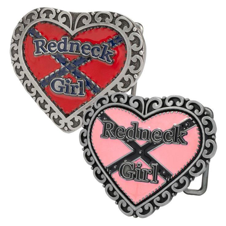 Women Redneck Girl Heart Cowgirl Rebel Flag Belt Buckle