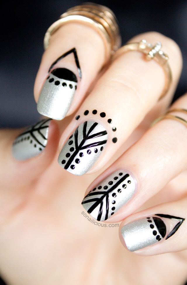So Nailicious: Cuticle nail art to compliment all black outfit