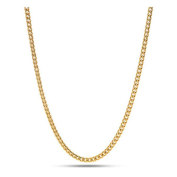 King Ice 3mm 14K Gold Miami Cuban Curb Chain ($30) ❤ liked on Polyvore featuring men's fashion, men's jewelry, men's necklaces, gold, mens chain necklace, mens 14k gold chain necklace, mens curb chain necklace, mens gold chain necklace and mens gold curb chain necklace