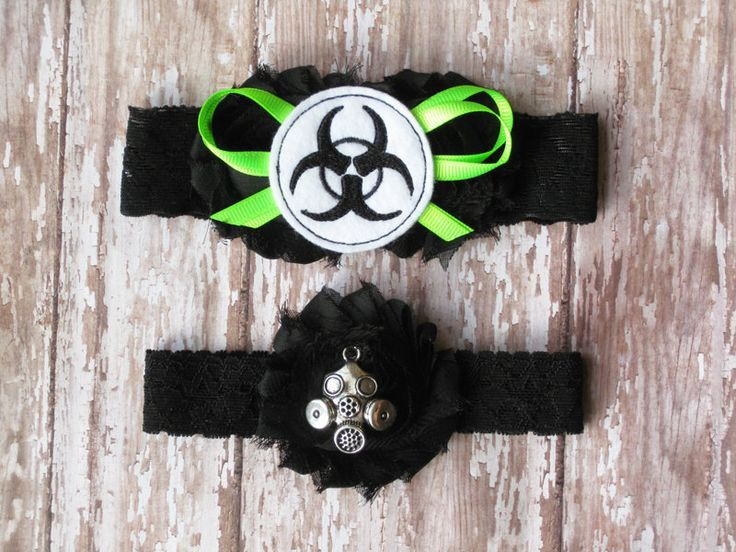 Biohazard Garter Set | Biohazard and Gas Mask Wedding Garters | Bridal Garter and Toss Garter by GeekyGarters on Etsy