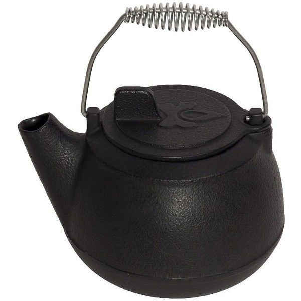 Camp Chef Cast-Iron Teapot (Black) ($45) ❤ liked on Polyvore featuring home, kitchen & dining, teapots, decor, kitchen, tea, black, tea teapot, black cast iron teapot and cast iron teapot