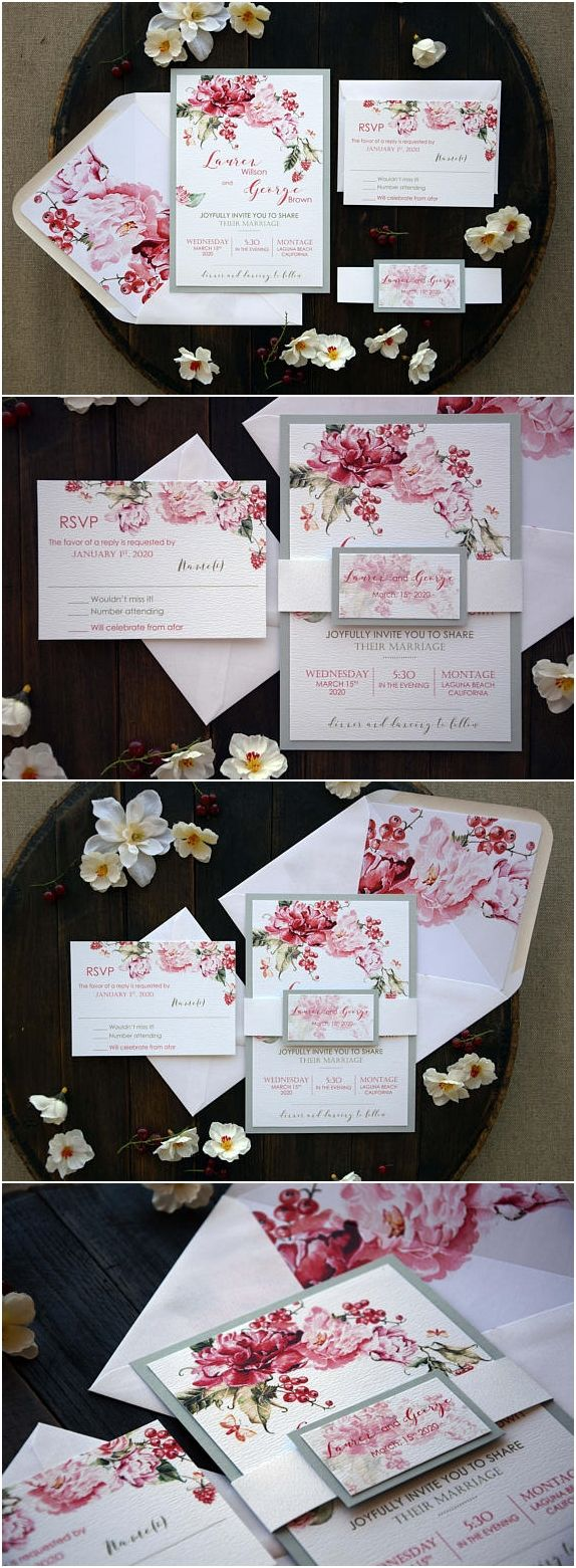 Modern Floral Wedding Invitation, Best Unique Rose Wedding Invitation, Garden Wedding Invitation, Marriage Invitation Card