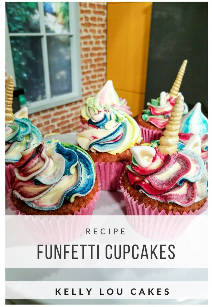 Fun cupcakes with multi colour sprinkles baked in the sponge and rainbow colour icing.