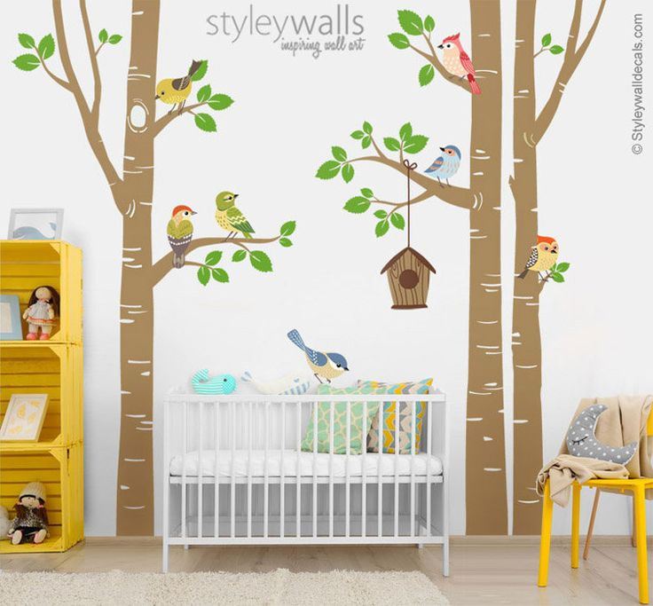 Our New Design Birch Trees and Colorful Birds decal pack would be a perfect finishing touch for your babys nursery or kid's room.  The whole scene measures(approx): 113w x 100h. The design will come in separate pieces so you can use your own composition to fit your space. The tree is divided in sections for ease of application. Sections are numbered and marked for simple alignment which will come with installing instructions.   [WHAT IS INCLUDED]  - 3 big trees and leaves measuring 51w x…