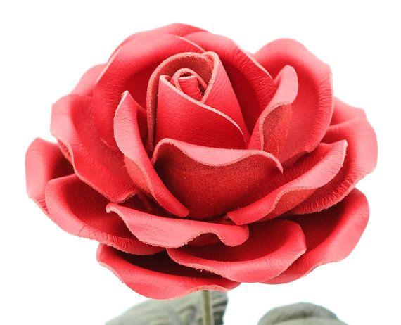 Leather Rose Crimson  Red Large Third Wedding Anniversary Gift Long Stem Flower Valentine's Day 3rd Leather Anniversary Mother's Day