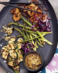Grilled vegetables with walnut dressing