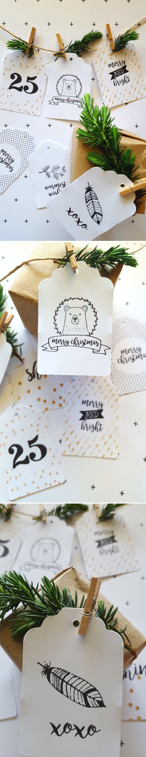 Makeforgood Modern Gold Merry Christmas Gift Tags / Merry and Bright Gift Tags/ Gold Christmas/ Boho Deer/ Woodland Christmas / ThePaperBirdcage