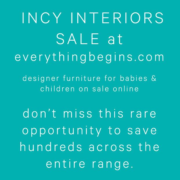 Save 20% on all Incy Interiors Designer Kids Bedroom and Nursery Furniture between now and May 31, 2015.  This only happens once or twice a year so don't miss it!
