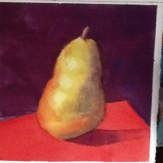 A watercolor pear