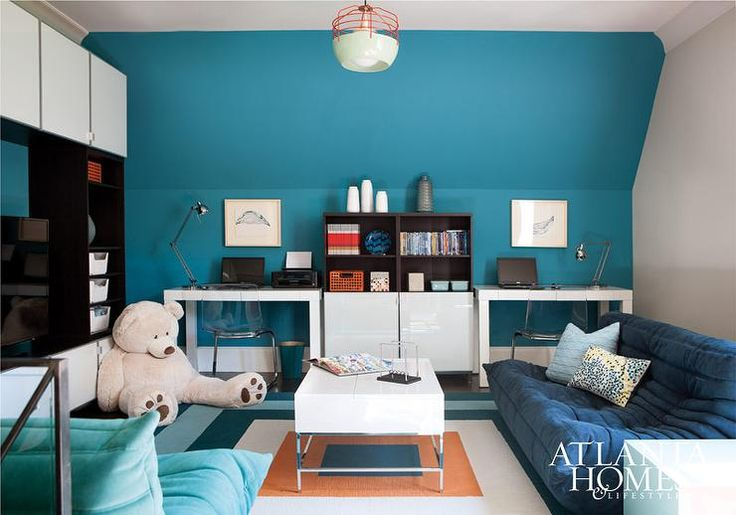 Blue Kids 39 Playroom And Homework Room Furnished With Togo
