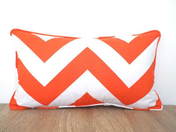 Orange chevron pillow case  21x11, chevron lumbar cover, geometric cushion cover , orange sofa pillow, orange cushion dorm room decor