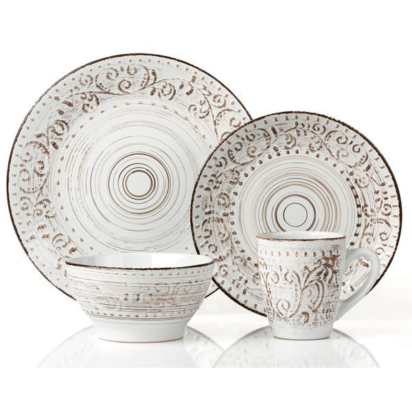 16 Piece Round Stoneware Dinnerware Set Distressed White by Lorren Home Trends #LorrenHomeTrends