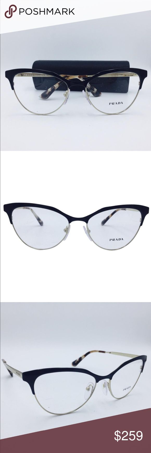 Prada eye glasses  Cinema Cat Eye Black Gold RX Eyeglasses Frame VPR 55S QE3-1O1  Excellent condition. 10/10. New. Never worn. May have tiny minor light factory scratches. Not visible. Enjoy these perfect eyeglasses for a fraction of the retail cost. 100% Authentic. Can be used with a prescription.   Includes original box and case.  Frame Color: Polished Black / Pale Gold Lens Color: Clear (Display Lenses. May Contain Light Scratches)  Sizes: 54, 16, 140mm Color:Black Gold Brand:Prada…