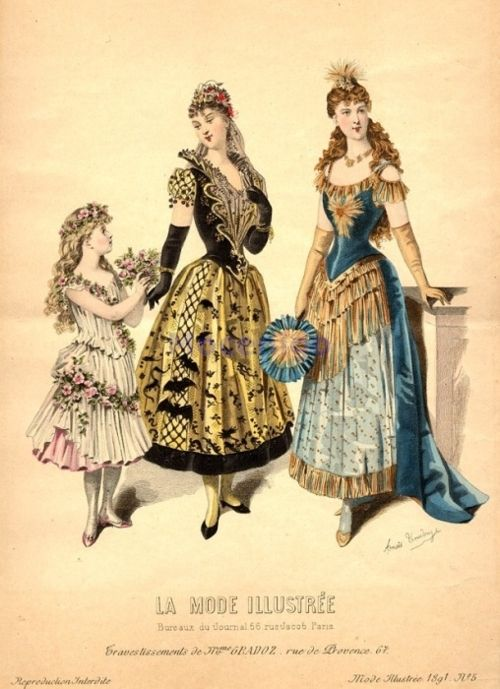 oldrags: Fancy dress, 1891 France, La Mode Illustree the sleeves on the right.