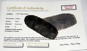 authentic paleo knife blade arrowhead spear point indiana indian artifact w coa - Categoria: Avisos Clasificados Gratis  Item Condition: not specifiedAwesome Large Authentic Indian Artifact Paleo Knife Arrowhead Spear Point w COATrans Paleo Early Archaic: 12,000 BC 8,000 BCGuaranteed Authentic Indian Artifact!!!This is a rare nobrainer authentic paleo knife from Indiana It's has a Beautiful patina and shows no signs of modern rework It's in excellent condition and grades an 8 on the included…