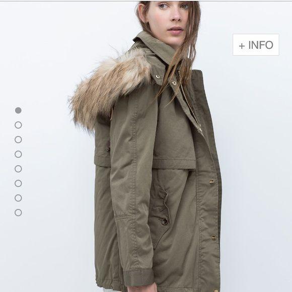 "Selling this ""Zara parka with faux fur hood"" in my Poshmark closet! My username is: yeseniafranco. #shopmycloset #poshmark #fashion #shopping #style #forsale #Zara #Outerwear"